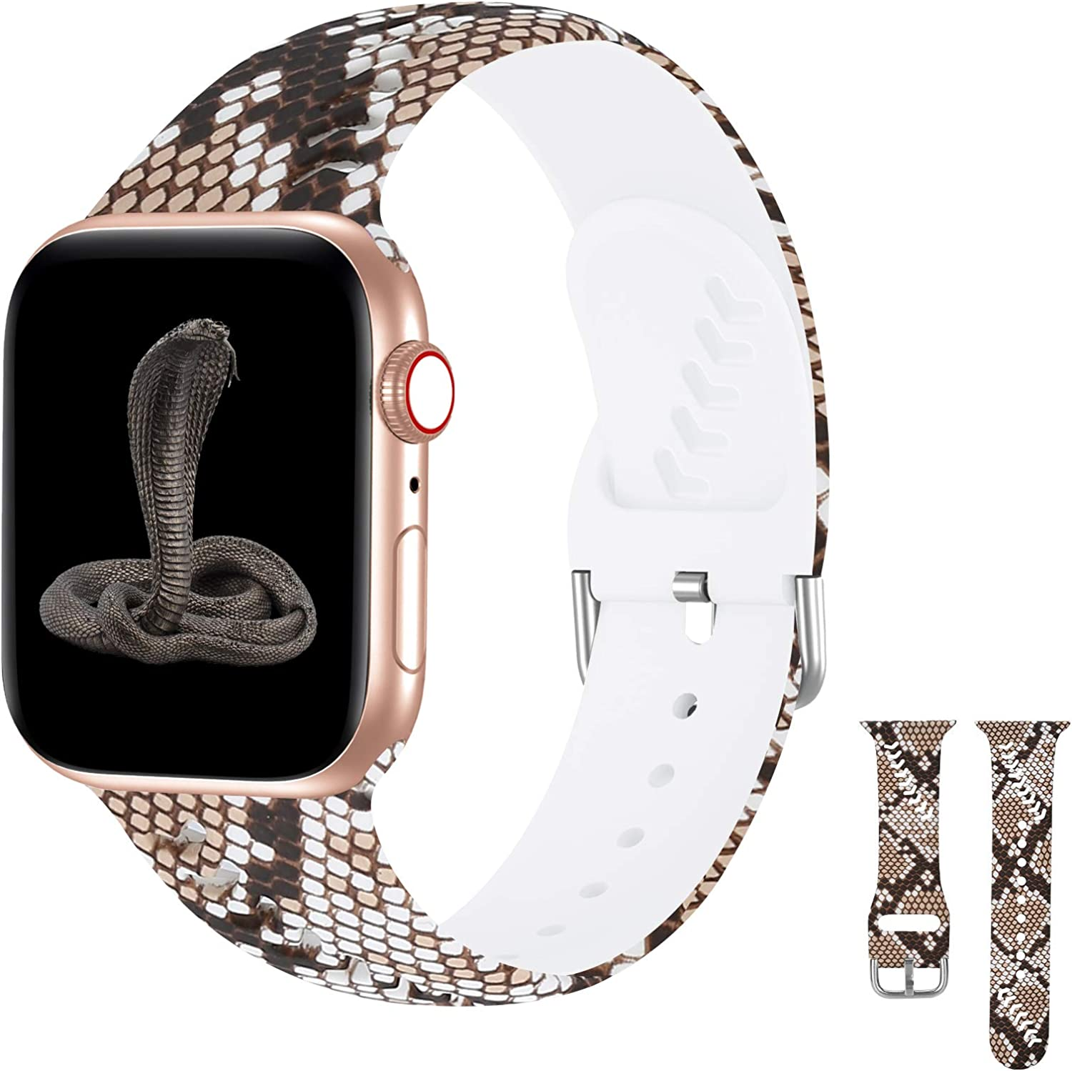 iWabcertoo Compatible with Apple Watch Band 38mm 40mm Series 3 Series 5, Silicone Floral Fadeless Printed iWatch Bands 38mm 40mm Womens Men Compatible for iWatch SE Series 6 5 4 3 2 1, Snakeskin