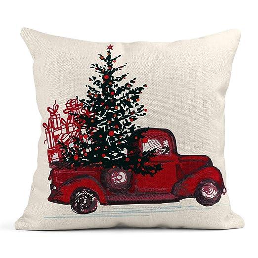 Kinhevao Cojín Acuarela Navidad Festivo Año Nuevo Camión ...