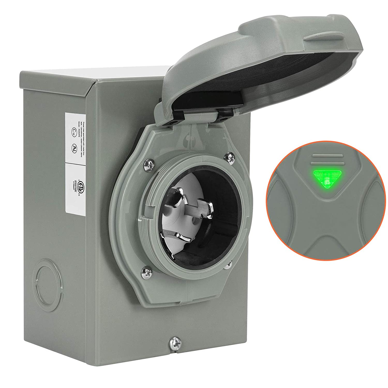 WELLUCK 50 Amp Generator Power Inlet Box, NEMA 3R Power Inlet Box, PB50, SS2-50P, CS6375 Generator Plug for Outdoor Receptacle, Generator Outlet, Weatherproof, ETL Listed, 125/250 Volt, 12500W