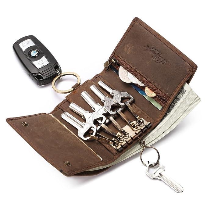 Genuine Leather Key Holder Coin Card Bag Case Purse Zip Wallet Men Women Pouch