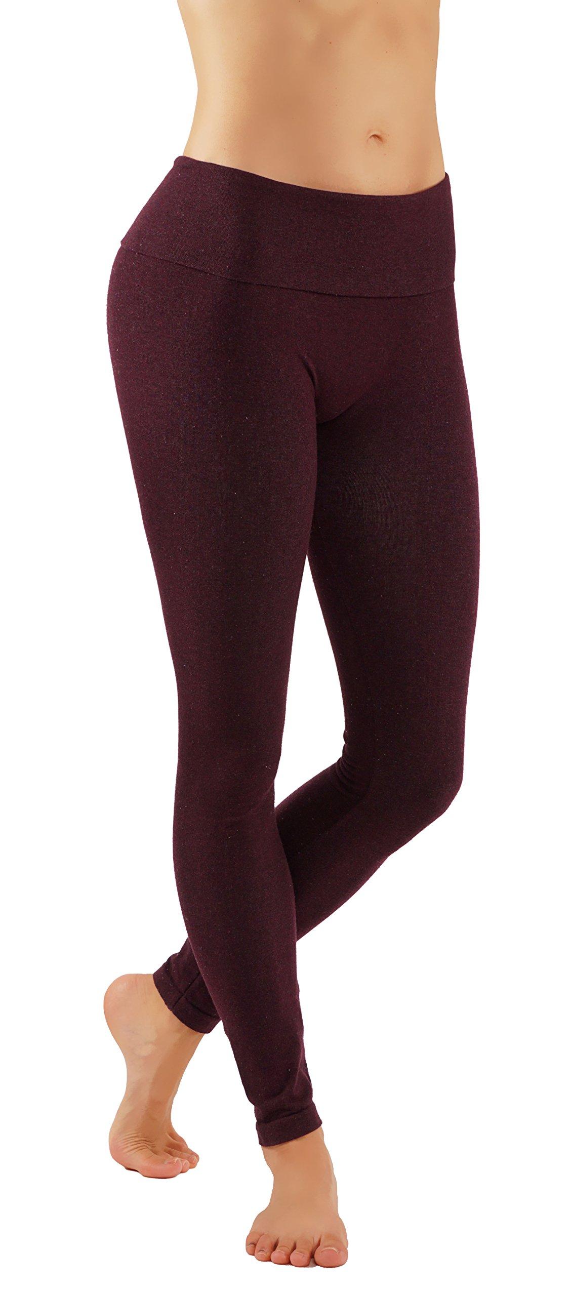 Pro Fit Women's High Waist Cotton Yoga Pants Workout Leggings (L/X-L Burgundy-lhw010) by Pro Fit (Image #1)