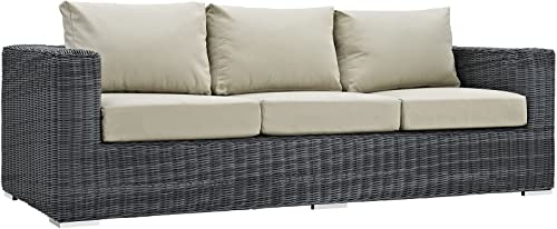 Modway Summon Wicker Rattan Outdoor Patio Sunbrella Sofa in Canvas Antique Beige