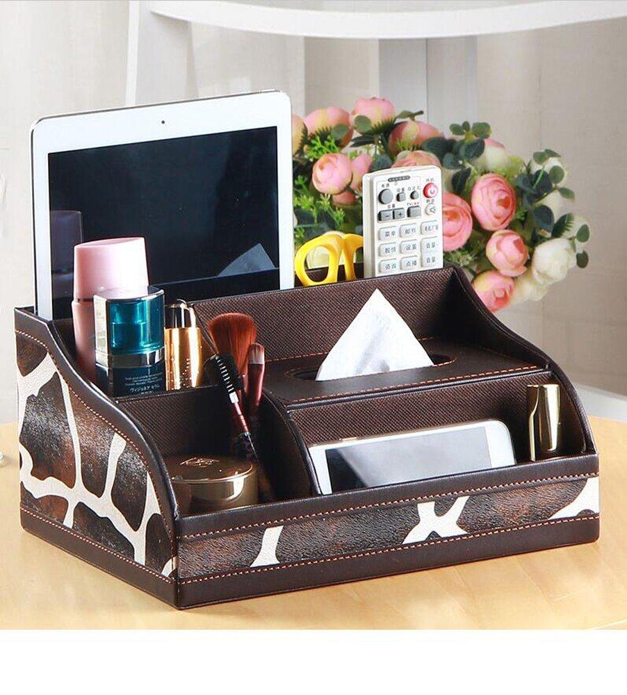 Remote organizer Remote holder tissue box holder make up organizer desktop storge PU leather (Leopard)