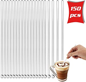Hslife 150Pcs Plastic Clear Round Top Coffee Swizzle Sticks Beverage Stirrers Drink Stirs