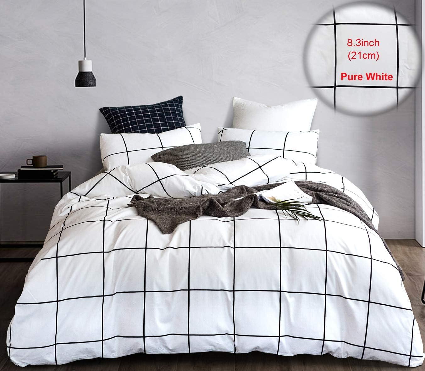 Amazon.com: karever Black and White Grid Bedding Set King Duvet