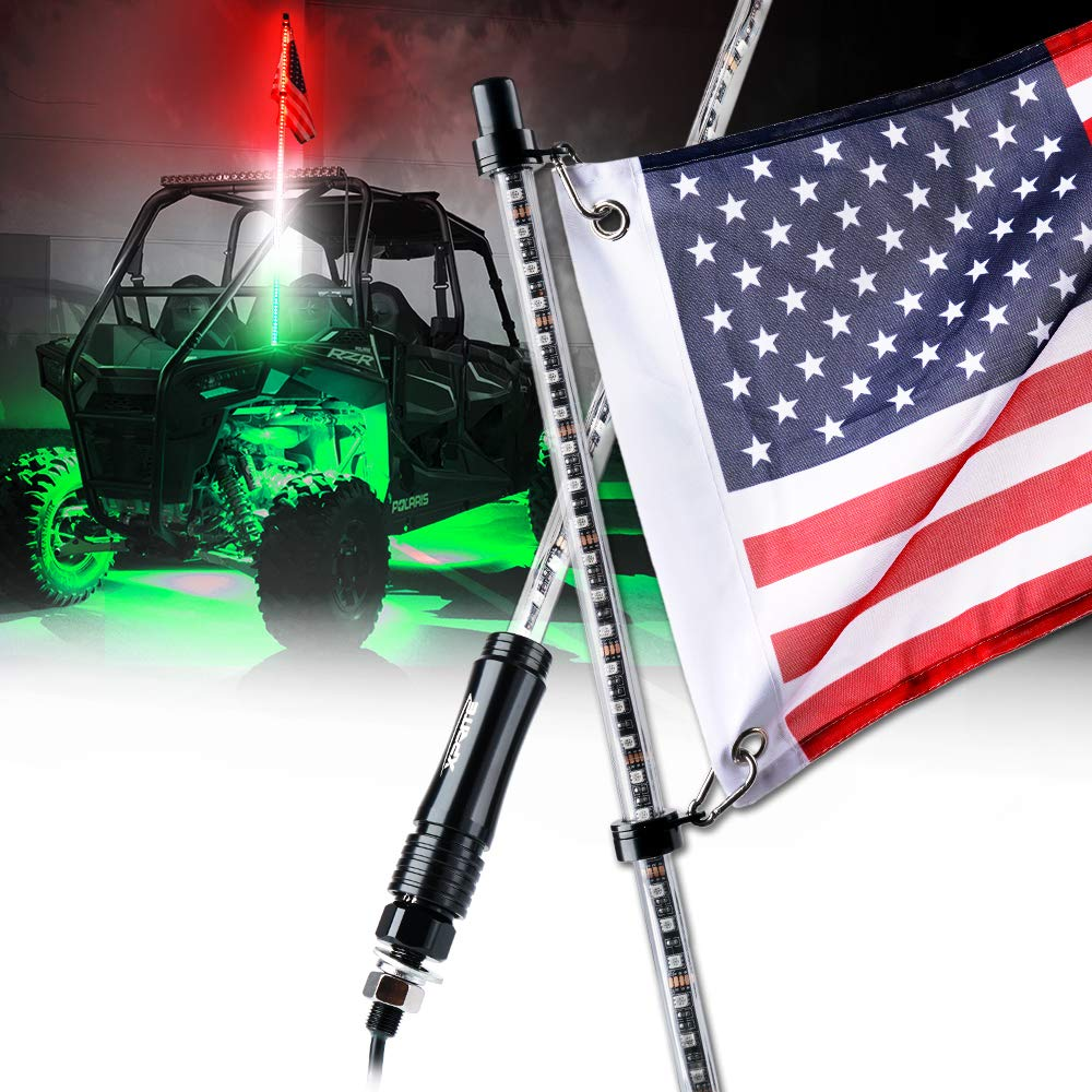 Xprite 5ft (1.5M) LED Whip Lights Waterproof Flag Pole Safety Antenna w/Flag for Offroad Jeep Sand Dune Buggy UTV ATV RZR 4X4 Truck (Red - White - Green)