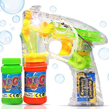 Set of 10 Bubble Guns Shooter led Lights with free bubble solution 3+