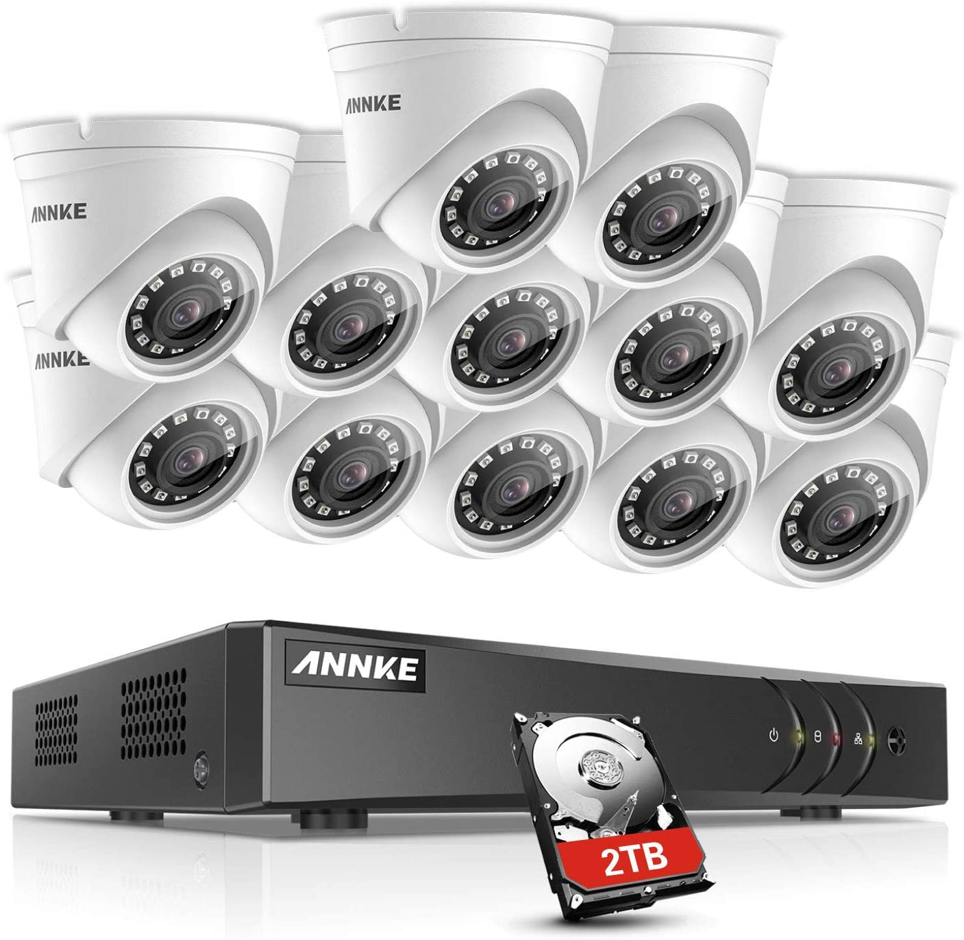 ANNKE 16-Channel 1080P Lite Video Security System DVR with 2TB Hard Drive and 12 HD 1080P Indoor Outdoor Cameras with IP66 Weatherproof Housing, 66ft Super Night Vision