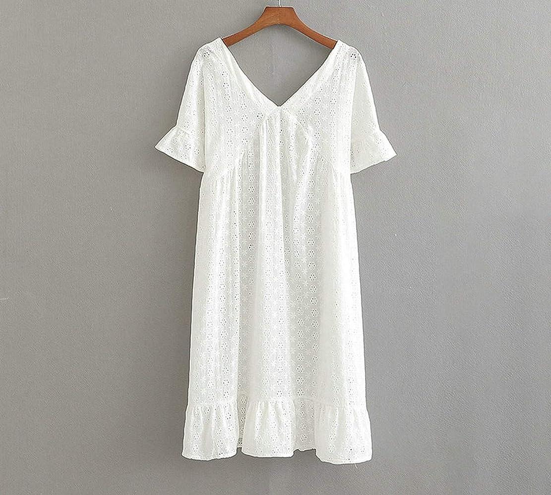 Vestido Blanco de algodón para Mujer, Manga Corta, Plisado, Cuello en V, Bordado.: Amazon.es: Ropa y accesorios