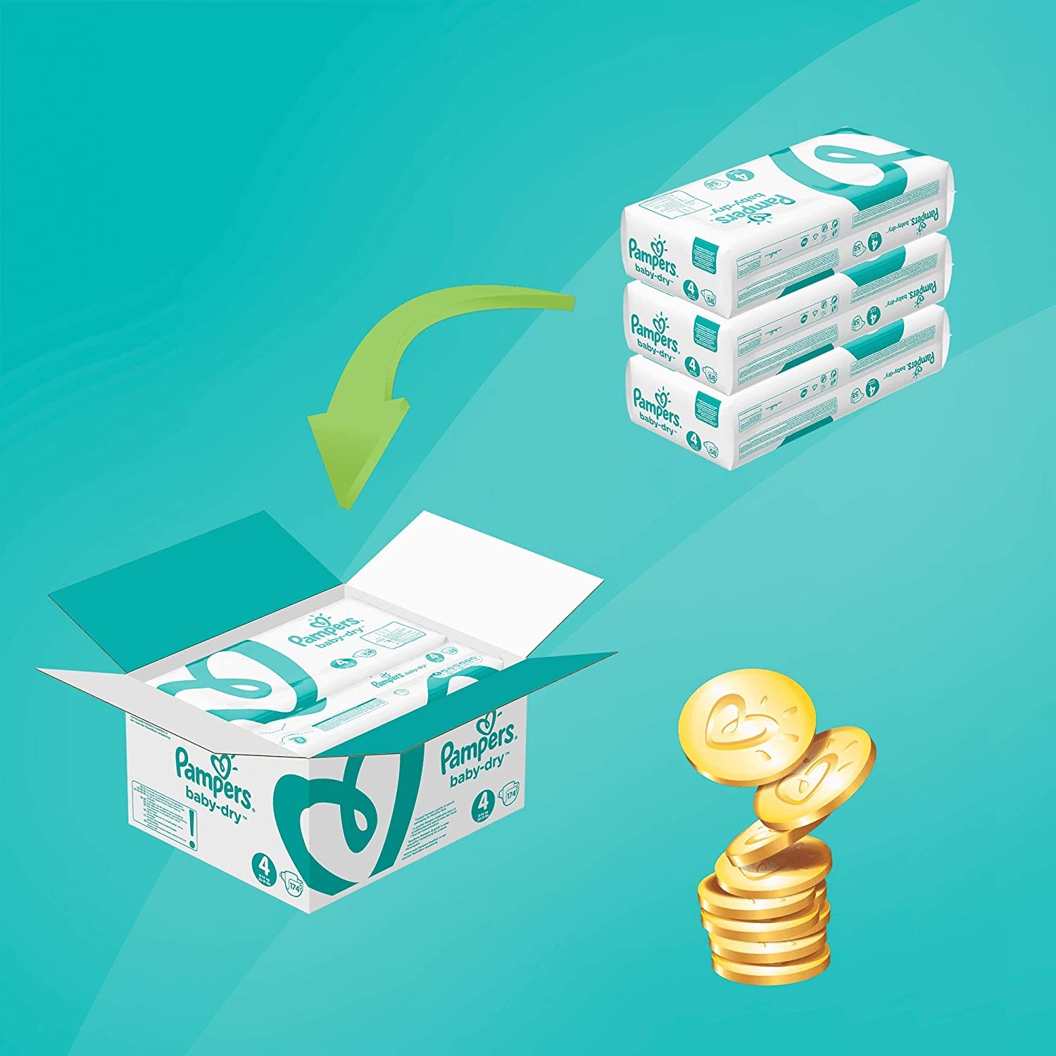 132 Nappies 12-17 kg Pampers Baby-Dry Size 5+ Monthly Pack Air Channels for Breathable Dryness Overnight