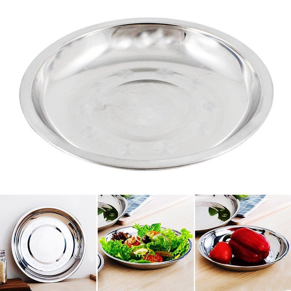 Woopower Assiette ovale en acier inoxydable de 18 cm ~ 28 cm de diamè tre pour maison/camping, As Picture Show, 16cm