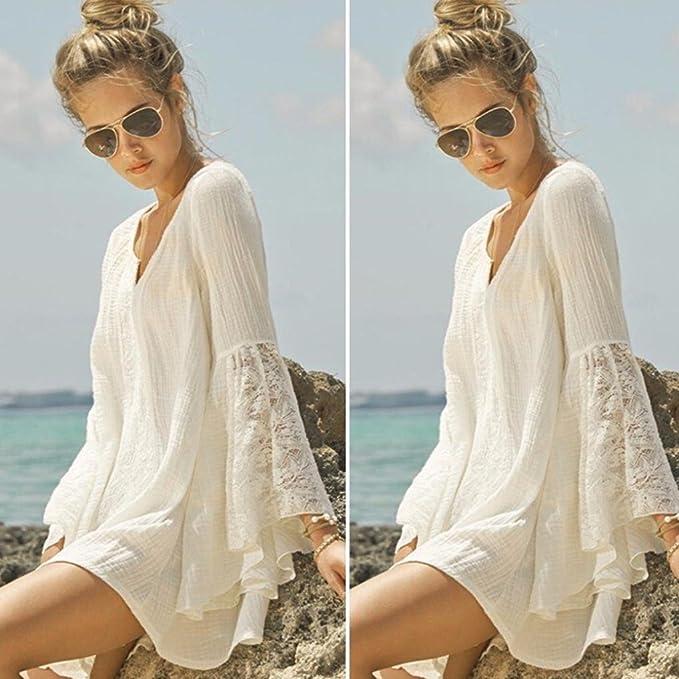 ... con Cuello En V De Encaje De AlgodóN Flare Vacation Overdose Hawaii Beach Protector Solar Princesa Suelta Linda Casual De Corto Mini Vestido: Amazon.es: ...