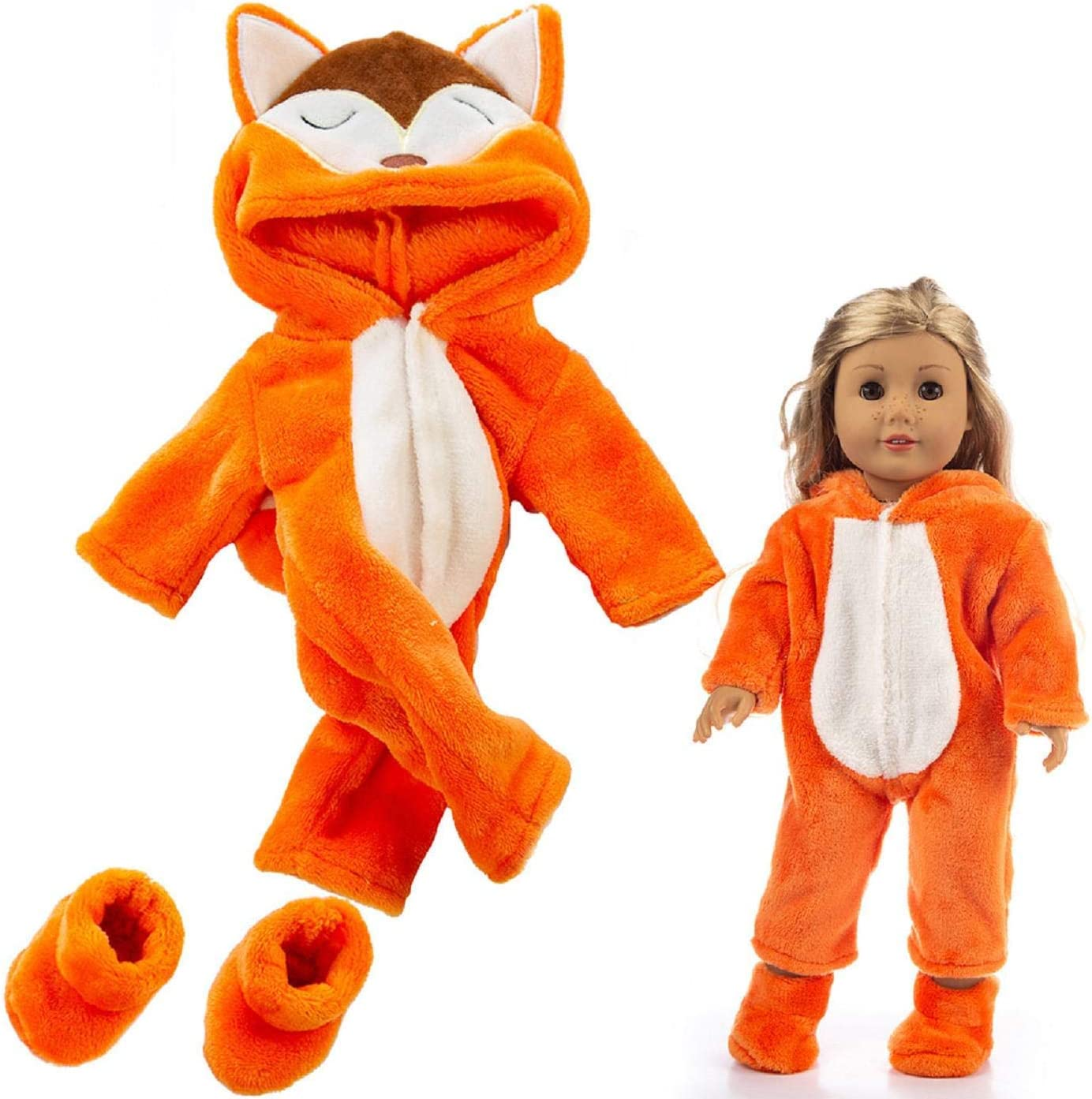 Cute Doll Clothes Animal Jumpsuit Doll Clothes Coat and Trousers Outfit Accessories Set for 18 Inch American Girl Doll Accessories Girl Gift Toy
