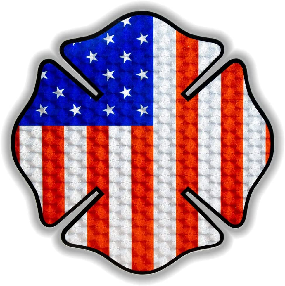 Premium Vinyl Engine Turn Vinyl Decal First Responders Laptop Sticker Pfaff Signs American Flag Maltese Cross Support Firefighters 5.25 x 5.25| Vehicle Decals