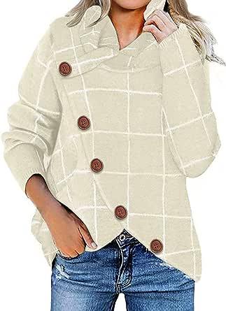 Fiyote - Jersey de manga larga para mujer, cuello redondo, con botones cruzados, para otoño e invierno, informal, dobladillo asimétrico S-XXL