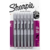 Sharpie Metallic Pens - Silver Ink - Fine Point - Pack of 6