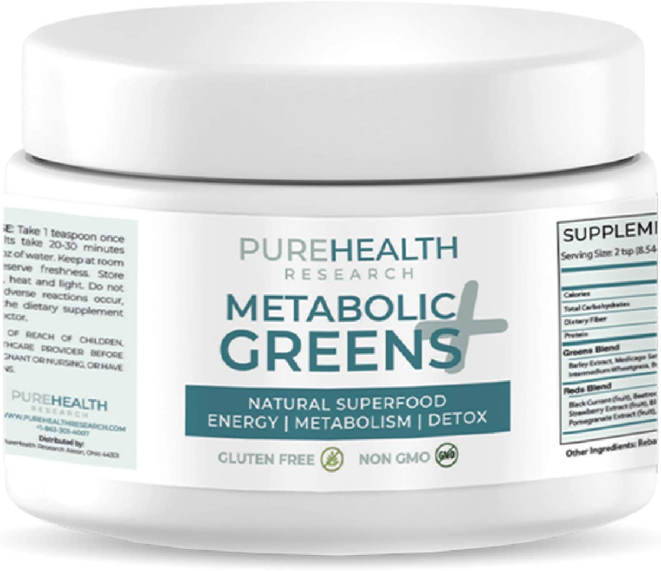 Metabolic Greens+ The Energy Magician by PureHealth Research (Non-GMO) Natural Weight Loss Supplement, Energy and Mood Booster, Metabolism Booster - Healthy Natural Digestive Blends