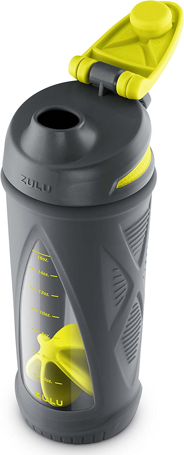 ZULU Turbo Glass Shaker Bottle with Silicone Sleeve
