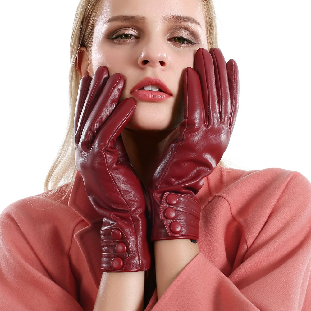 VEMOLLA Luxury Women Touchscreen Genuine Leather Gloves Cashmere Lining for Texting Driving Winter