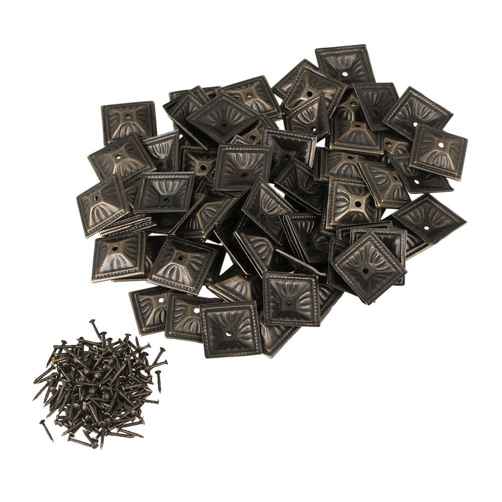 Ewead, 21x21mm Square Nailhead Antique Bronze Iron Upholstery Nails Tacks Studs Furniture Decorative Pins Pack of 100