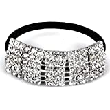 Designer Fashion Elastic Rhinestone Hairtie Ponytail Holder Headband Jewelry Accessories for Women Girls Hair Band by Hair Accessories