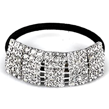 Amazon.com   Designer Fashion Elastic Rhinestone Hairtie Ponytail Holder  Headband Jewelry Accessories for Women Girls Hair Band by Hair Accessories    Beauty fe77b57be55