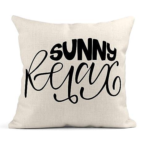 Cojín Playa Sunny Relax Verano Frase caligráfica Cepillo de ...