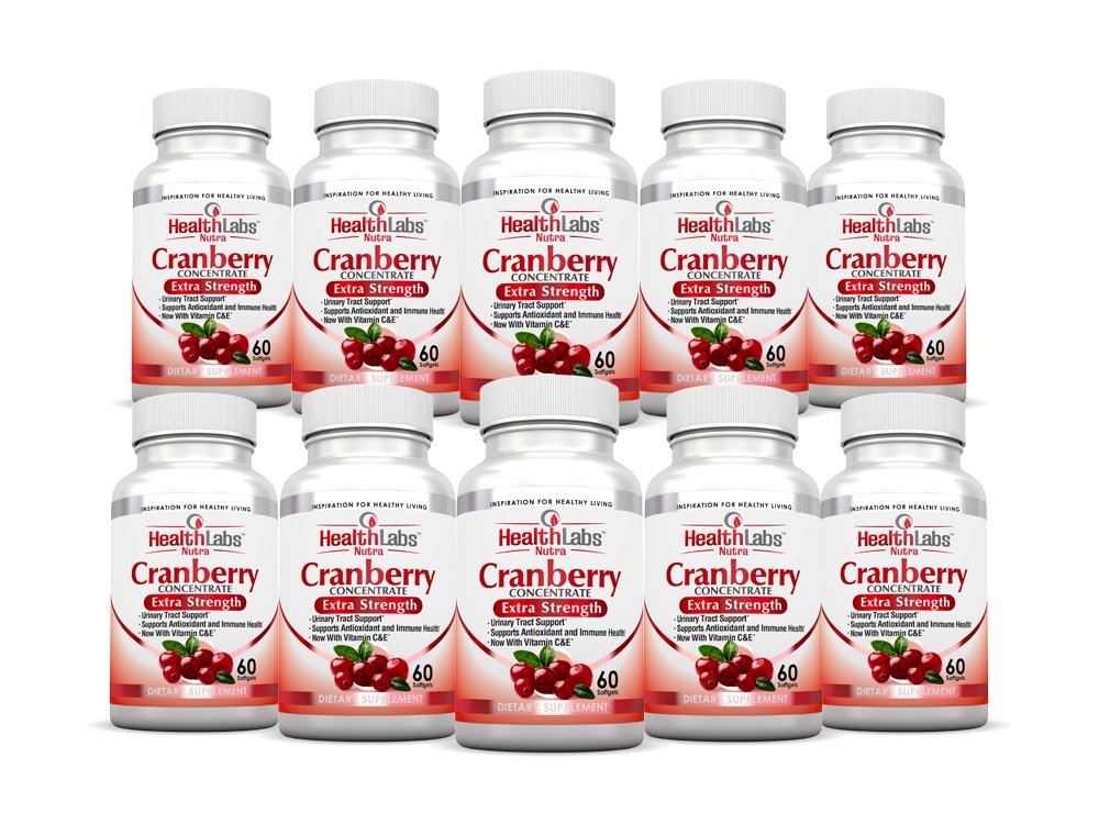 Health Labs Nutra 50:1 Triple-Strength Cranberry Concentrate 10-Month Supply with Vitamins C & E – Promotes Urinary Tract and Immune Support- (Pack of 10)