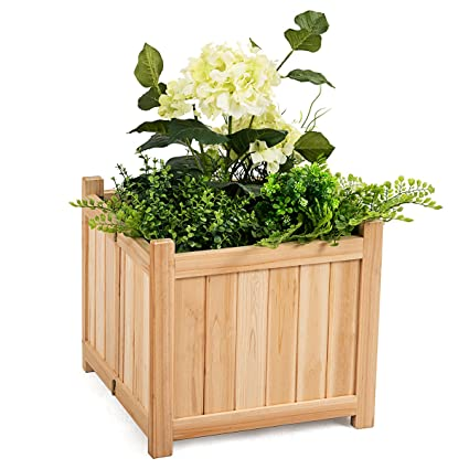 Giantex Portable Flower Planter Box Raised Folding Vegetable Patio Lawn Garden Backyard Elevated Outdoor Wood Planter Boxes Natural Square
