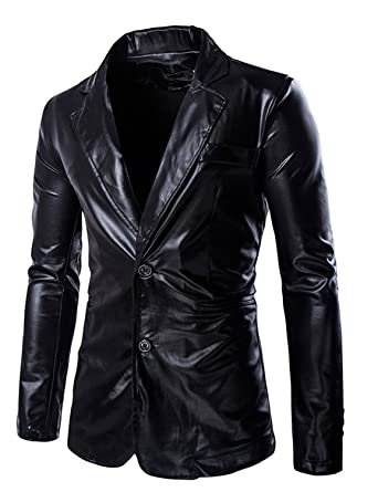 Zeroyaa Mens Slim Fit Shiny Metallic Two Button Suit Jacket /Night ...