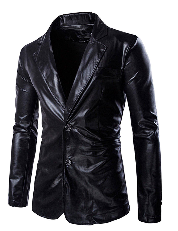 ZEROYAA Mens Geek Design Metallic Silver Blazer/Party Suit Jacket Black X-Large