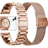 CAGOS Compatible Galaxy Watch 42mm Band Set, 2 Pack Stainless Steel + Mesh Strap Bracelet for Samsung Galaxy Watch Active 2 40mm/44mm /Ticwatch E/Garmin Vivoactive 3 Smartwatch - Rose Gold