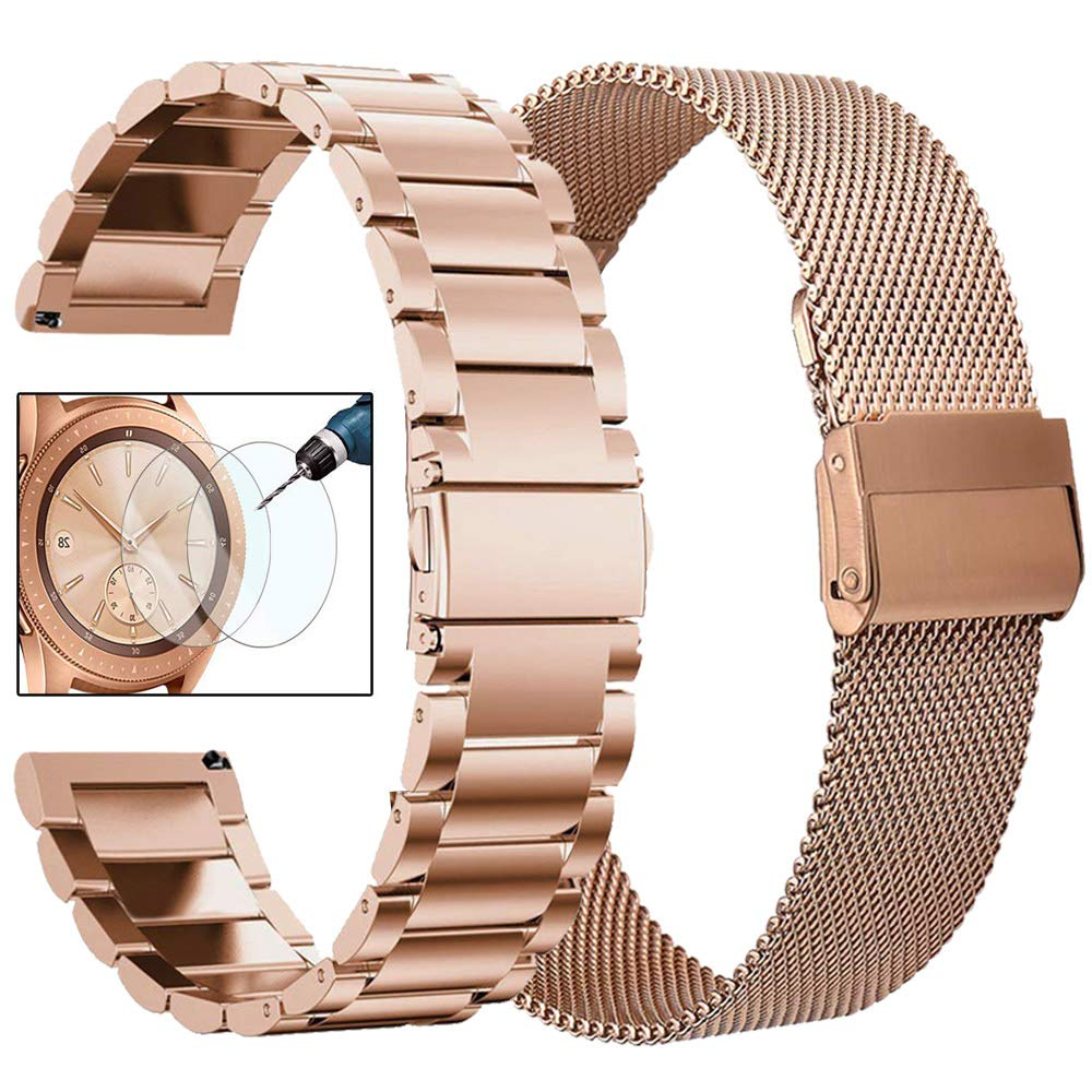 CAGOS Compatible Galaxy Watch 42mm Bands Sets, 20mm 2 Pack Stainless Steel + Mesh Strap Bracelet Replacement for Samsung Galaxy Watch 42mm /Ticwatch E/Garmin Vivoactive 3 Smartwatch - Rose Gold by CAGOS