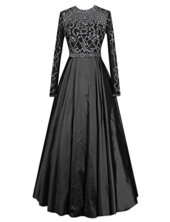 Gardenwed See Through Beaded Long Sleeves Prom Dress Formal Dress Reception Dress Black Size 2