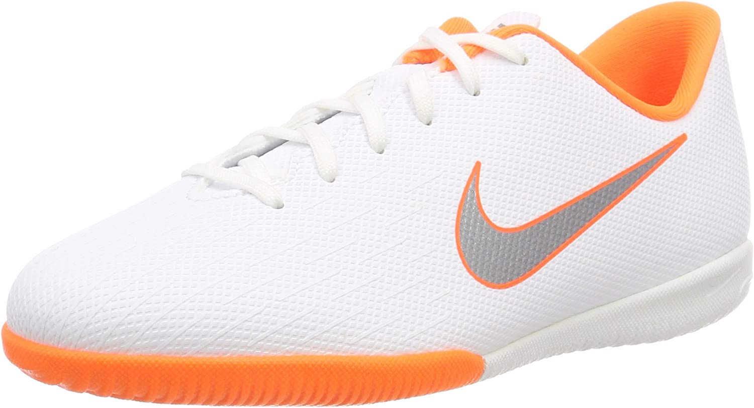 1 M US Little Kid White//Grey Nike Junior VaporX 12 Academy Indoor Shoes