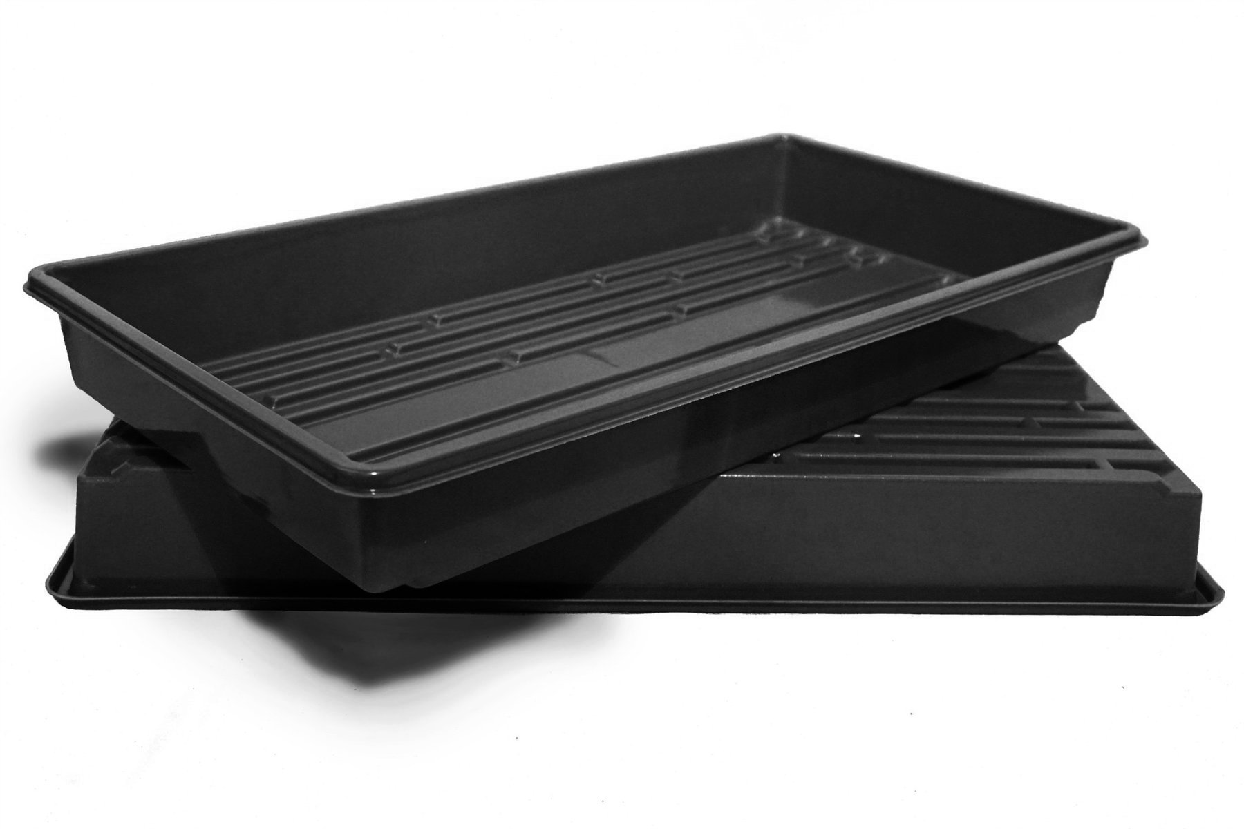 Made In USA, Growing Tray for garden seeds, Microgreens, Wheatgrass (No Drain Holes) (2, Black)