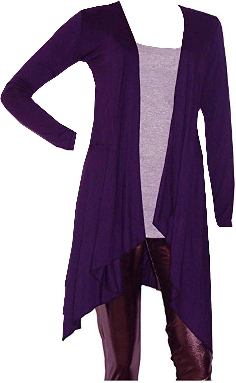 UK Size 8-22 Lady Rich Long Sleeved Waterfall Cardigan