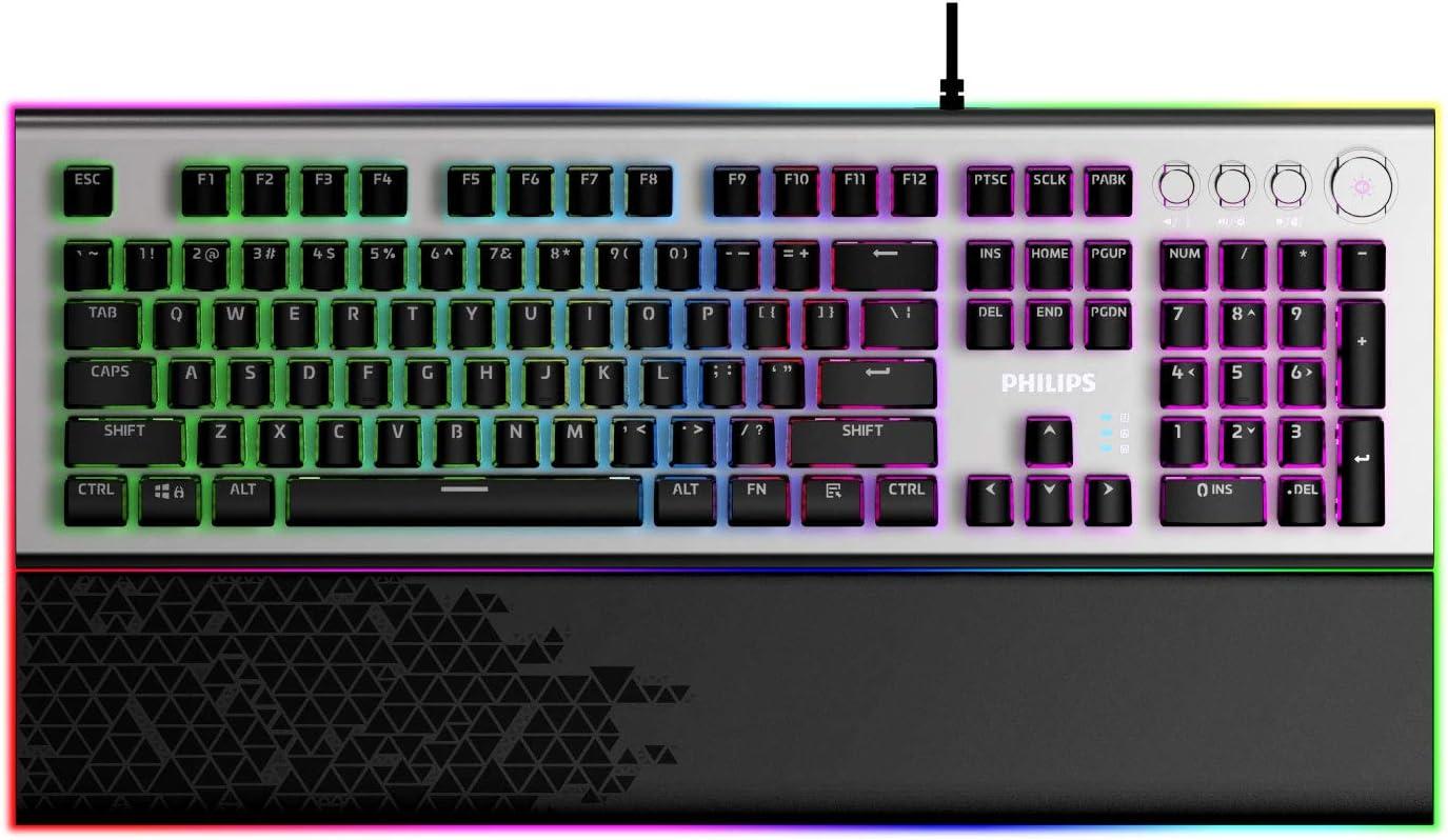 PHILIPS Wired Gaming Keyboard with Palm Rest | LED RGB Mechanical Keyboard w/Custom Cyan Crystal Switches, 38-Key Aliasing, Multimedia Control Dials | 20 Light FX, Custom Light Maps (SPK8624)