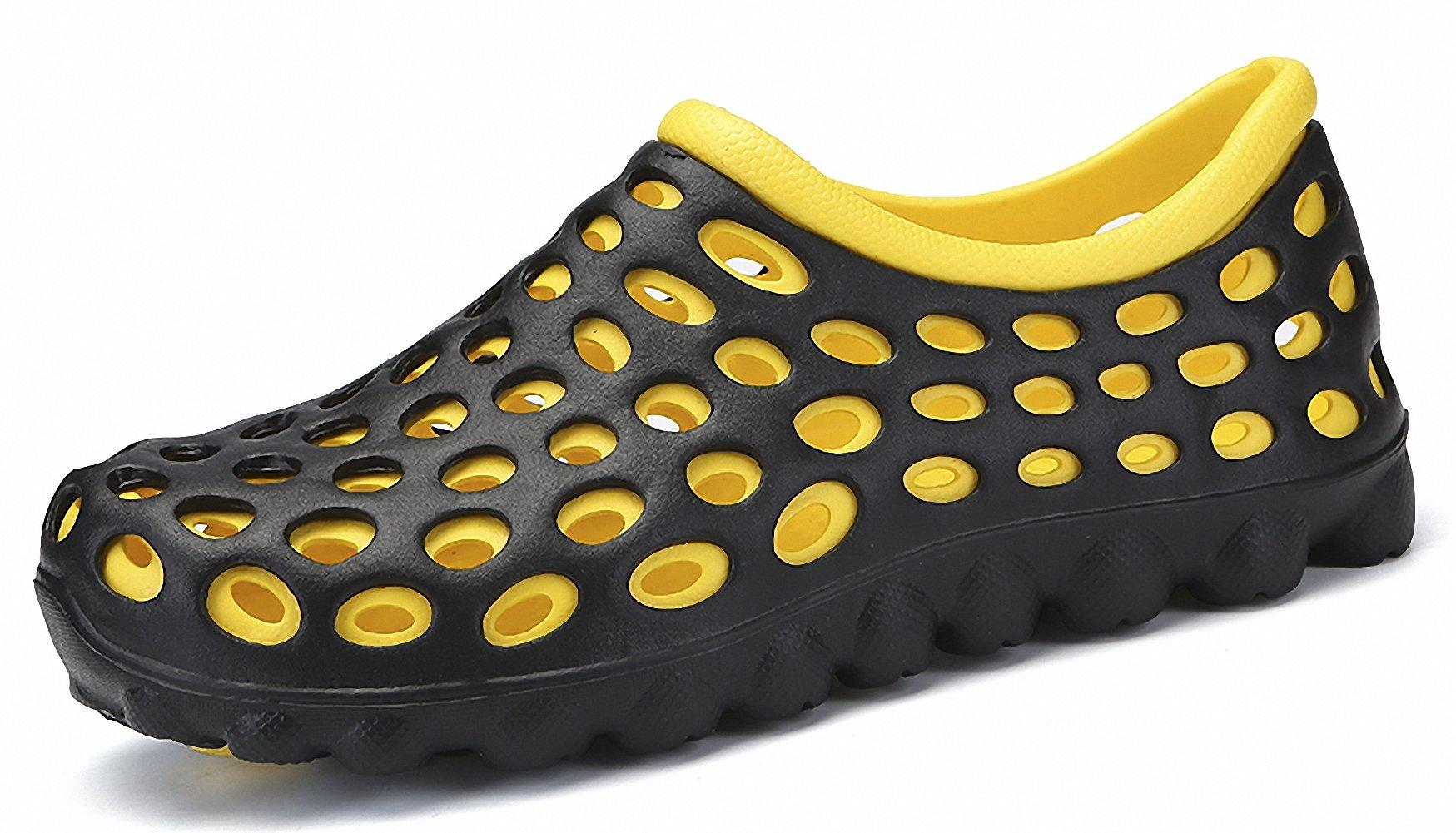 ZHENZHONG Men's Lightweight Aqua Slip on Water Shoes Yellow Summer Beach Garden Clogs Shoes Sneakers