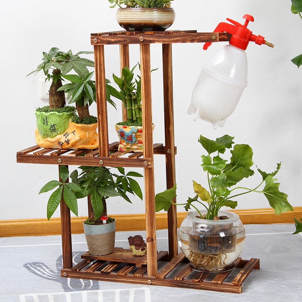 AMour Light Solid Wood Flower Stand Shelf, Floor Multi-storey Bonsai Balcony Plant Dispaly Racks For Living Room Indoor And Outdoor Flower Stand