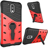 DMG Sniper Dual Layer Hybrid Back Cover Kickstand Case for Motorola Moto G4 Plus (Red)