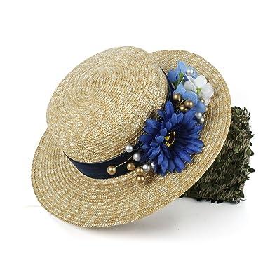 Gmsh Beach Sunhat Women Sun Hat 100% Wheat Straw Lady Summer Flat Sunbonnet  Boater Beach 69dfb15e3e98