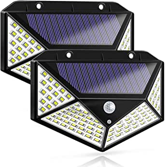 LED Solar Lights Outdoor,100 LED Motion Sensor Solar Security Lights, Outdoor Waterproof Solar Wall Light for Gate,Yard,Garage (2 Packs)