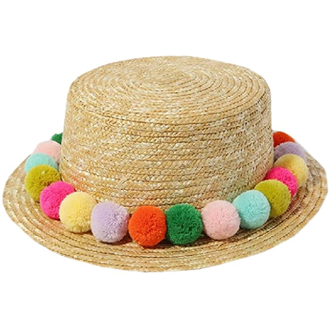 e73d6047ea1 Amazon.com  Miki Da New Kids Girl Summer Pom Pom Visor Sun Straw ...