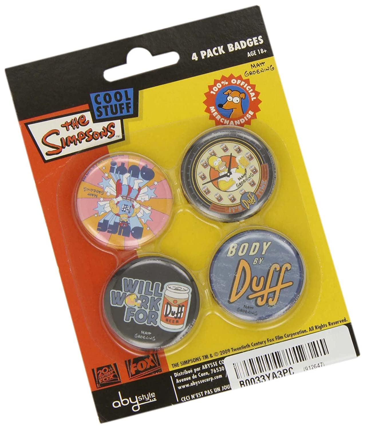 The Simpsons cool stuff 4 pack badges spille AbyStyle ABYACC051