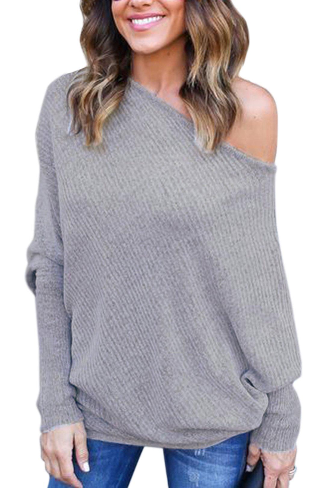 3f6554018f4b22 YOINS Women Sexy Off Shoulder Bat Long Sleeves Pullover Knitted Sweater,  Grey, Large