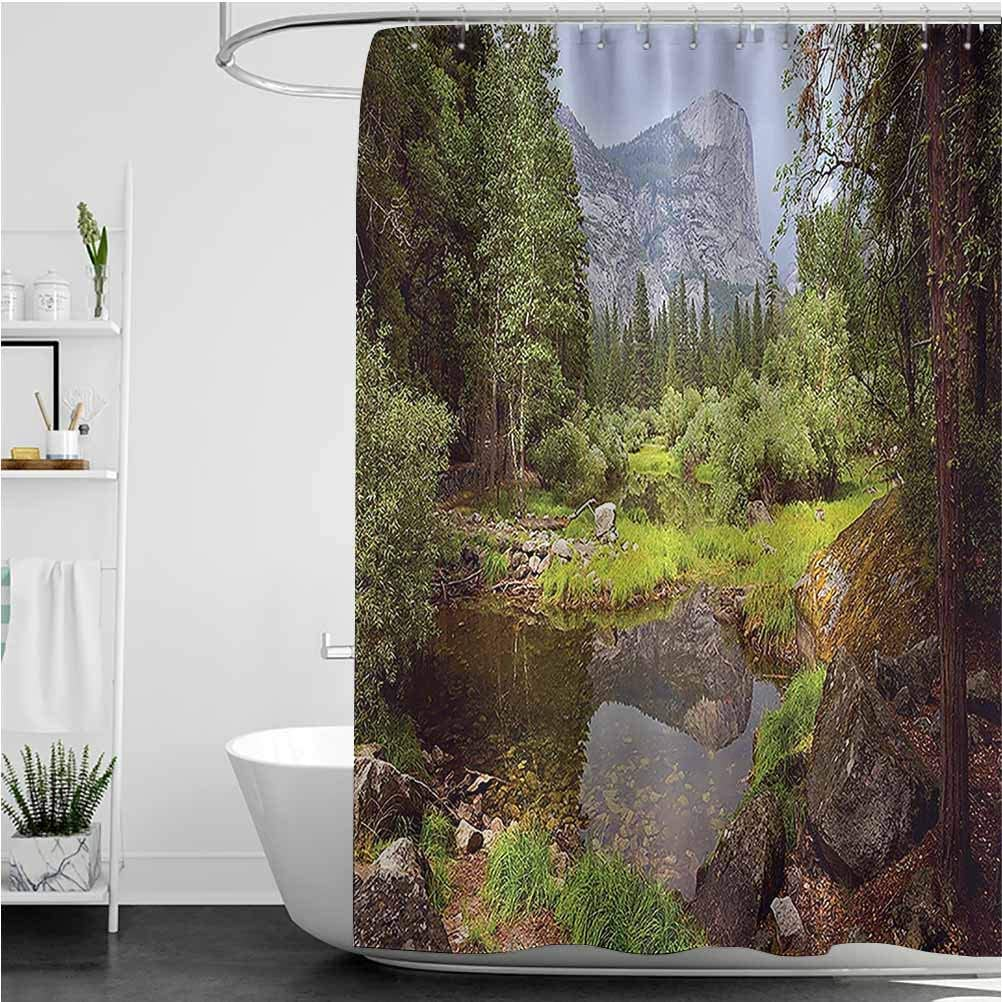 """Apartment Shower Curtain Liner, Small Spring Forest Distant Mountain Picture of Yosemite National Park Landscape Print Heavy Duty Fabric, Water Repellent Bath Curtain, 72"""" x 72"""""""