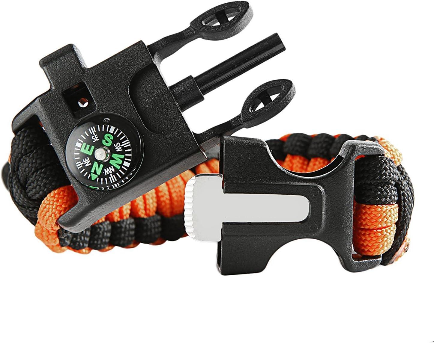 Multifunctional Paracord Survival Bracelets Kits with Compass Whistle Fire Starter Flintstone Hiking Camping Emergency Scraper Survival Bracelet Buckles Tool
