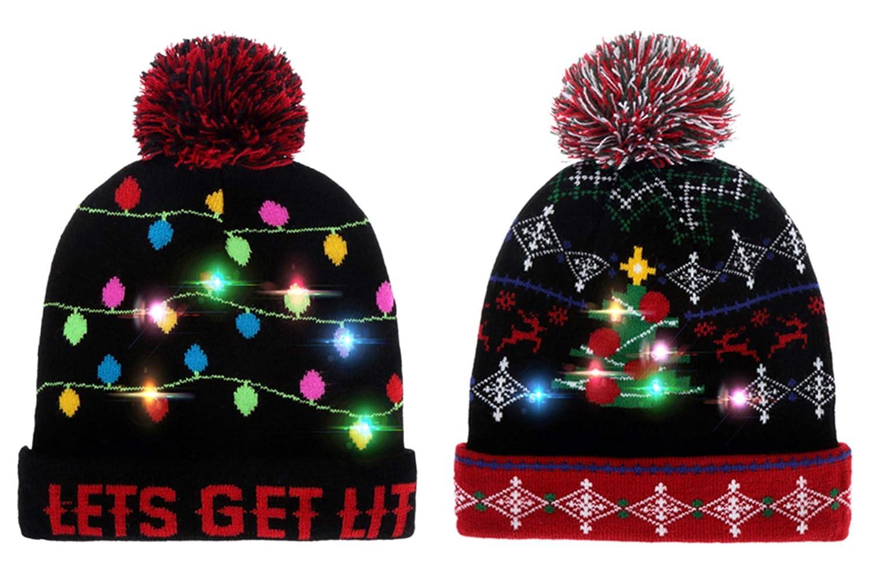 Amazon.com  BLUBOON Novelty LED Light Up Beanie Hat Knitted Ugly Sweater  Holiday Xmas Christmas Beanie Colorful Funny Hat Gift (Light Raindeer  2pcs)  ... 31c5e97868e