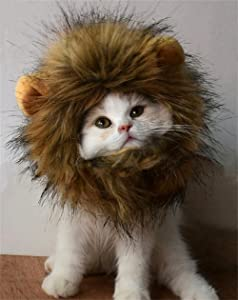 RosyLife Lion Mane Wig for Cat Costume Pet Adjustable Washable Comfortable Fancy Lion Hair Cat Clothes Dress for Halloween Christmas Easter Festival Party Activity